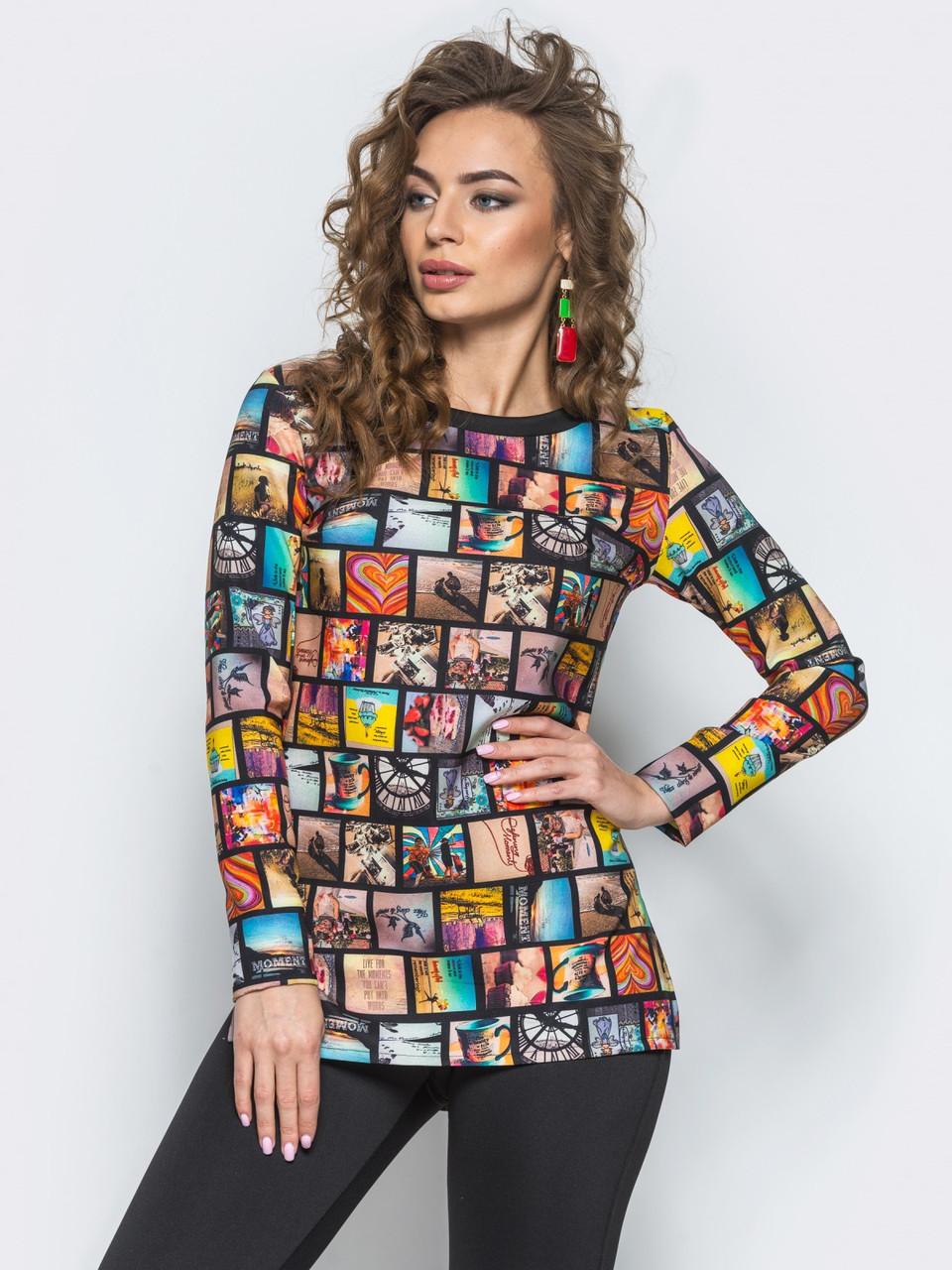 Яркая женская туника с удлиненной спинкой и длинными рукавами 90289, фото 1