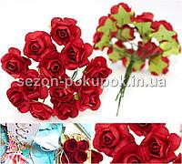 Роза бумажная 1.5см (букет 12 шт). Цвет -КРАСНЫЙ