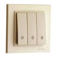 MONO ELECTRIC Выключатель MONO ELECTRIC DESPINA 3 клав. проходной цвет КРЕМ