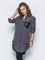 Стильная женская хлопковая длинная рубашка с рукавом 3/4 7029/3, фото 1