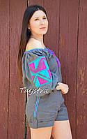 Шорты и блузка комплект лен летний вышитый в этно бохо стиле, вышитая одежда лето