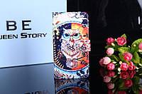 Чехол книжка с рисунком Alcatel OneTouch Pixi 4 4034D Сова
