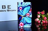 Чехол книжка с рисунком Alcatel OneTouch Pixi 4 4034D Бабочка