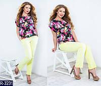 Блуза женская шифон Цветы размер 48-50