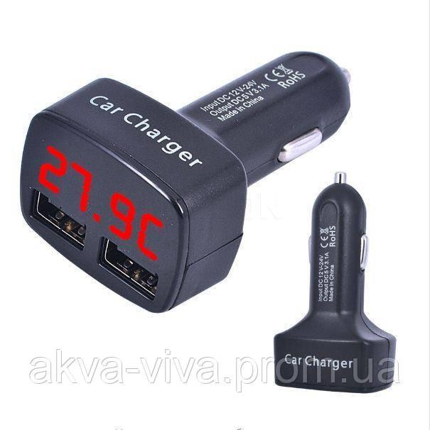 USB зарядка в авто с термометром.Черная с красным дисплеем.