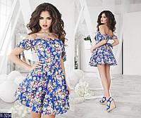 Платье женское Куколка Цветочное коттон, двойной лиф на косточках, фатиновый подъюбник в комплекте