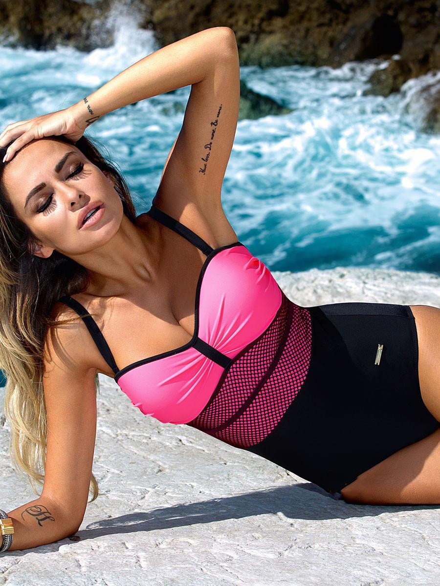Сплошной женский купальник розовый цвет Фуксия размер XS, S, M, L, XL
