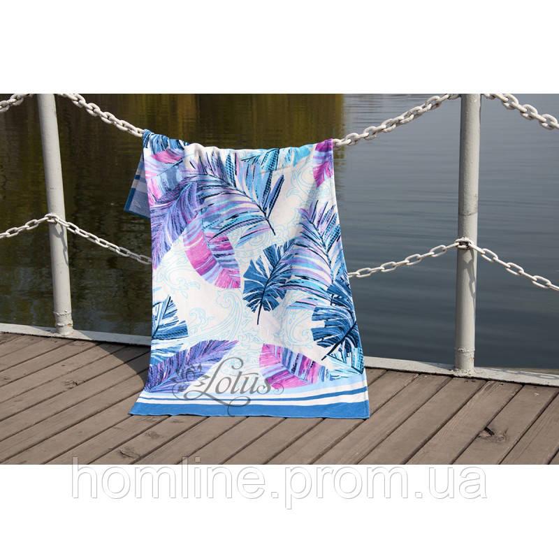 Велюрове рушник Lotus пляжне Paradise Mavi 75*150