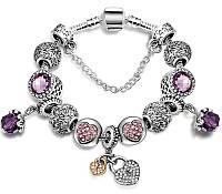 Браслет с шармами в стиле Пандора фиолетовый камень