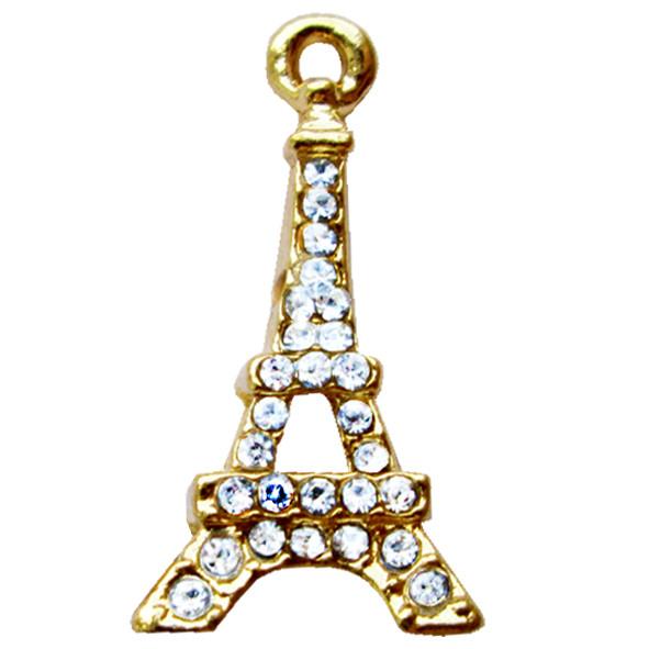 Подвеска Кулон Париж 1 со Стразами, Металл, Цвет Золото, выс 22 мм, Фурнитура для Бижутерии, Рукоделие