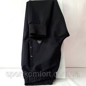 Мужские спортивные трикотажные штаны Соккер, тёмно-синие, манжет, размеры 46, 48, 50, 52, 54.