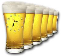 """Фигурные настенные часы """"Пиво-6"""" оформление бара"""