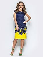 Нарядное женское полуприталенное платье с ярким принтом 90297
