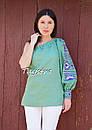 Блуза один рукав вышитая женская блузка моношолдер, вышиванка лен, бохо этно стиль, фото 2