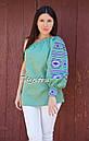 Блуза один рукав вышитая женская блузка моношолдер, вышиванка лен, бохо этно стиль, фото 3