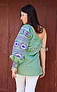 Блуза один рукав вышитая женская блузка моношолдер, вышиванка лен, бохо этно стиль, фото 4