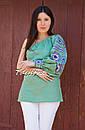 Блуза один рукав вышитая женская блузка моношолдер, вышиванка лен, бохо этно стиль, фото 6
