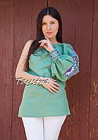 Блуза один рукав вышитая женская блузка моношолдер, вышиванка лен, бохо этно стиль