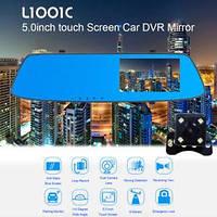 """Відеореєстратор-дзеркало 5"""" сенсорне з двома камерами L1001C HD1080p"""