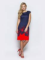 Нарядное женское полуприталенное платье с ярким принтом 90297/1