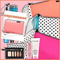 Модная тканевая косметичка персикового цвета в горошек от Lancome, фото 1