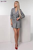 Модное женское платье-пиджак в клетку 2 цвета