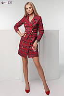 Стильный женский костюм в клетку: юбка и пиджак 2 цвета