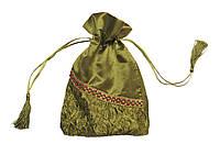 Мешочек для карт Таро, сатин с рисунком, зелёный цвет ( 13,5х19,5см ), фото 1