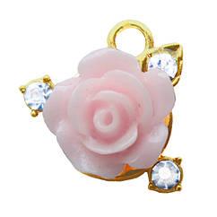 Підвіска Кулон Троянда Рожева Метал, Колір Золото, вис 15 мм. Фурнітура для Біжутерії, Рукоділля