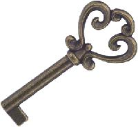 Ключ для мебельного замка старая бронза E-211G4, фото 1