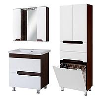 Комплект мебели для ванной комнаты Симпл-Венге 80-30-80-04-60-11 с зеркалом и пеналом ПИК
