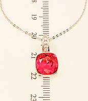 "Кулон ХР Родий с кристаллами Swarovski на цепочке ""Малиновый Кристалл"" длина 45-50 см"