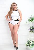 Женский цельный черно белый купальник размер 50-52 54-56 58-60 62-64 66-68