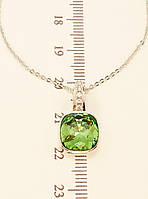 "Кулон ХР Родий с кристаллами Swarovski на цепочке ""Зеленый Кристалл"" длина 45-50 см"