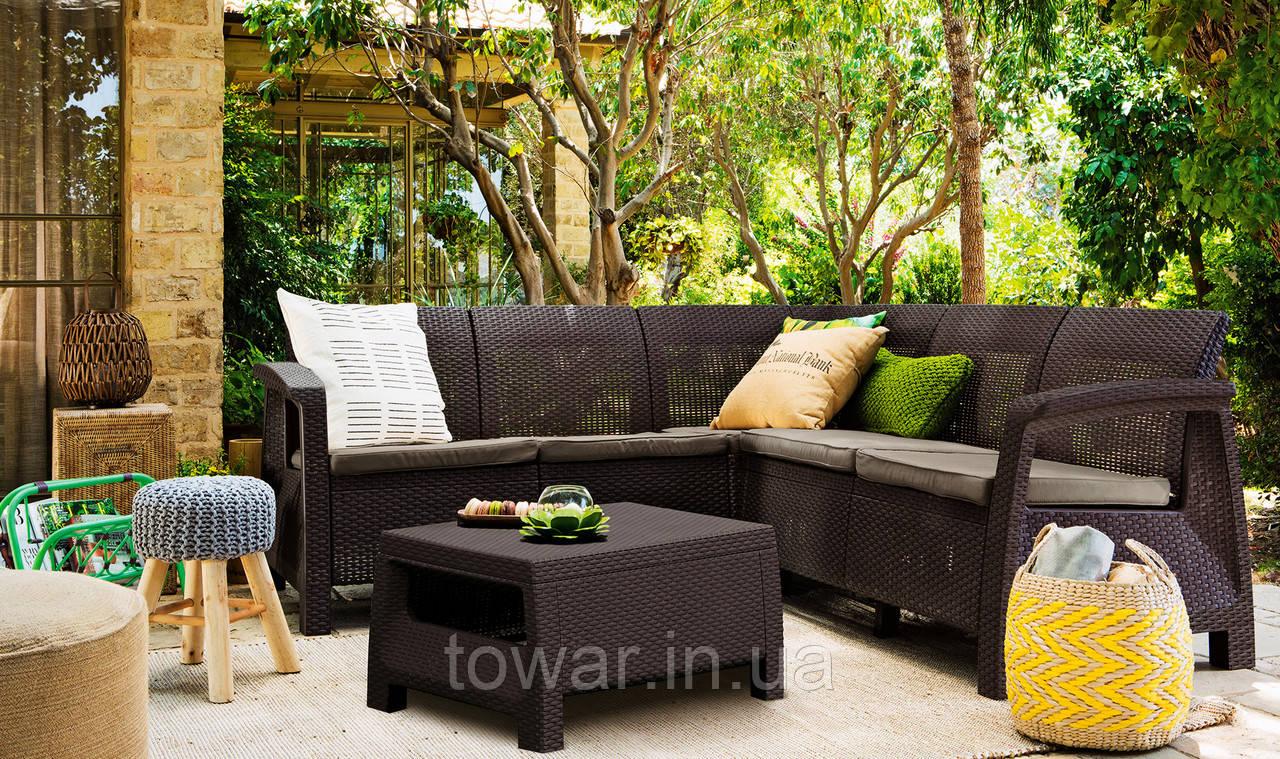 Набор садовой мебели Allibert Corfu Relax коричневый
