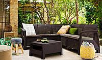 Набор садовой мебели Allibert Corfu Relax коричневый, фото 1
