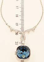 """Колье ХР Родий с кристаллами Swarovski """"Подвеска Крупный Синий Кристалл"""" длина 48-53 см"""