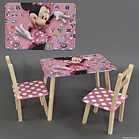 """Столик и два стульчика деревянные """"Мини Маус """" С 099 ***"""