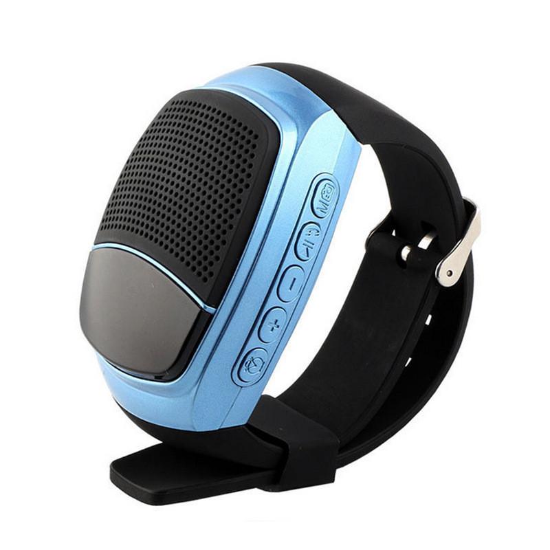 Беспроводная портативная Bluetooth колонка SUNROZ B90 Портативная Bluetooth колонка-часы, LCD, Синяя (SUN0419)