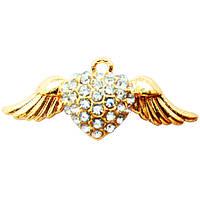 Подвеска - Кулон Сердце со Стразами и Крыльями, Металл, Цвет: Золото, выс 12 мм. шир 30 мм. толщ 4 мм.