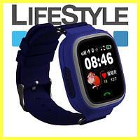 Умные детские часы Smart Baby Watch Q90 (Q100) (сенсорный экран, wi-fi, вибро). Синие