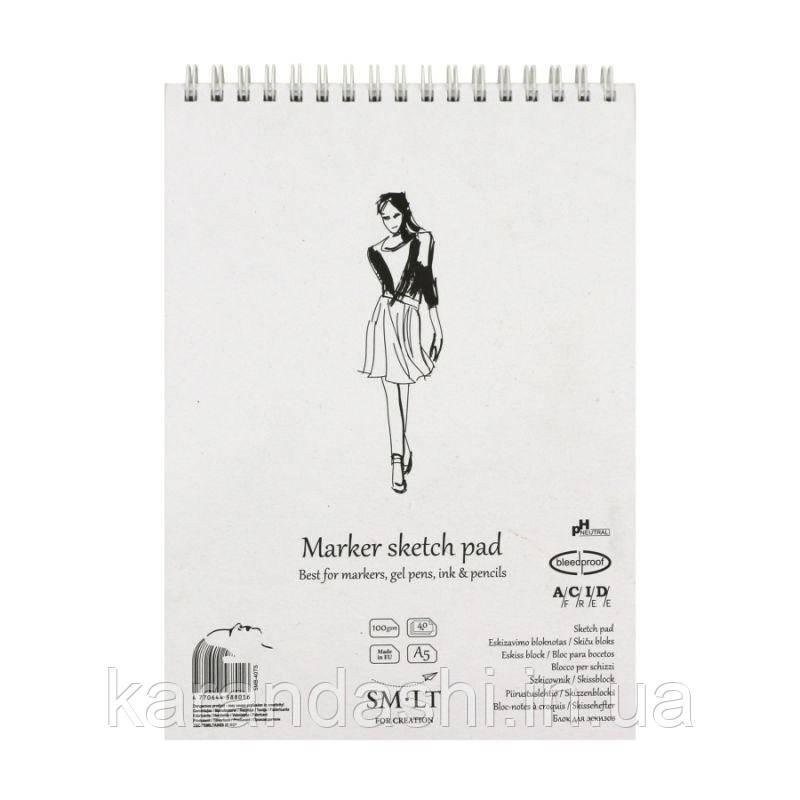 Альбом SMILTAINIS для Маркеров А5 100/м2 40 лист на спирали 5MB-40TS
