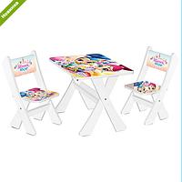 """Столик и два стульчика деревянные """"Принцессы"""" М 2100-04***"""