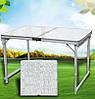 Посилений Розкладний столик 120 см для пікніка та 4 стільці, туристична меблі