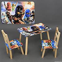 """Столик и два стульчика деревянные """"Ниндзяго"""" С 103***"""