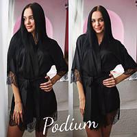 Женский шелковый халат с кружевом 22PI51
