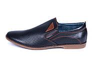 Мужские кожаные летние туфли KungFu black classic, фото 1