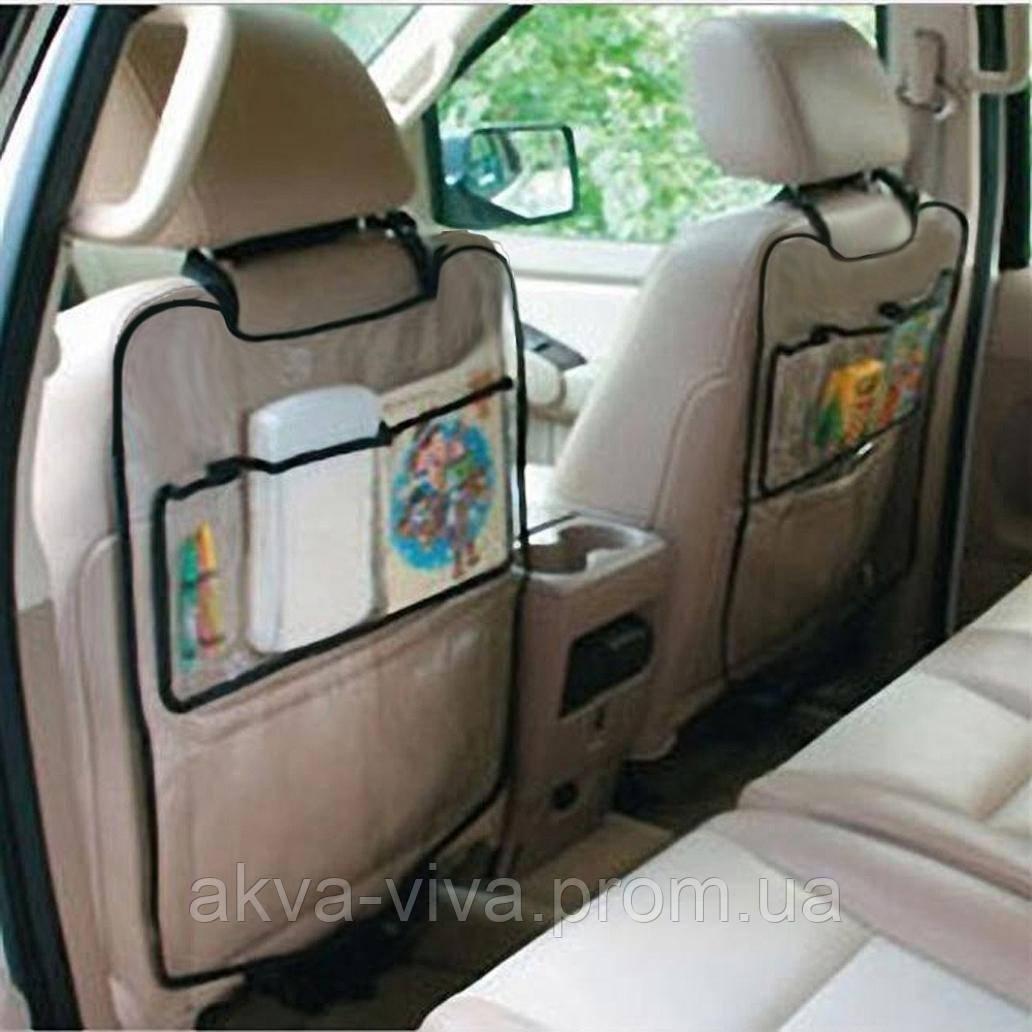 Защитный чехол с карманами на спинку переднего сидения в автомобиль (АО-1002)