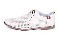 Мужские кожаные летние туфли, перфорация, KungFu beige, фото 1