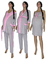 Пижама, ночная рубашка и халат 18005 Mindviol для беременных и кормящих, хлопок, р.р.42-56